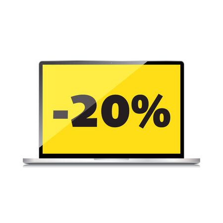 markdown: Sale, markdown, discount 20 percent on High-quality laptop screen. Reduced Prices. Special offer. Shopping badge with percentage discount.