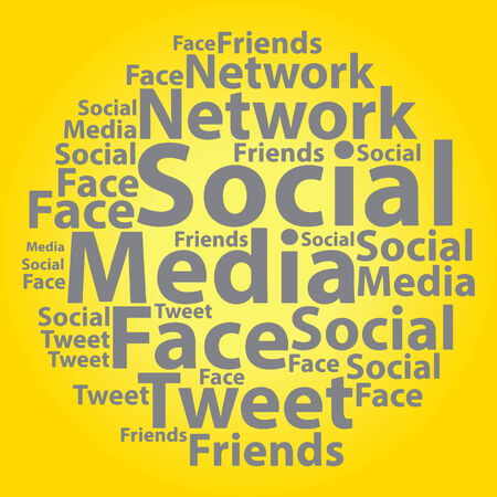 Text cloud. Social media wordcloud. Typography concept. Vector illustration. Vector