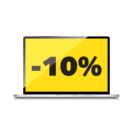 markdown: Sale, markdown, discount 10 percent on High-quality laptop screen. Reduced Prices. Special offer. Shopping badge with percentage discount.