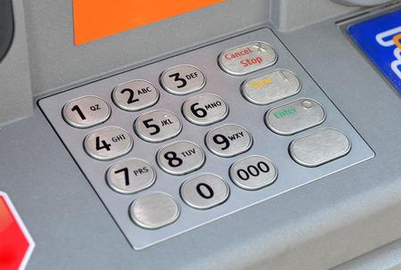 ATM keypad machine detail. Cash point close up photo