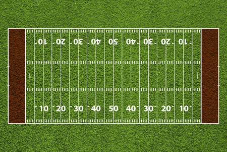 American football field with hash marks and yard lines. Grass textured. photo