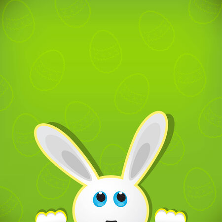 Easter bunny look up in blank space. Easter background. Vector
