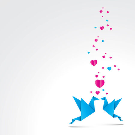 Two kissing origami birds.  Vector