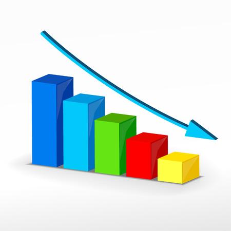 3D business decline graph. Illustration