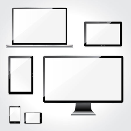 display type: Blank screens set, isolated on white background