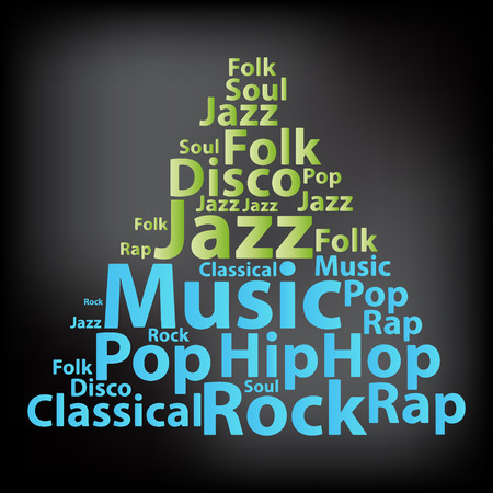 Text Music word cloud Typography concept.  Illustration