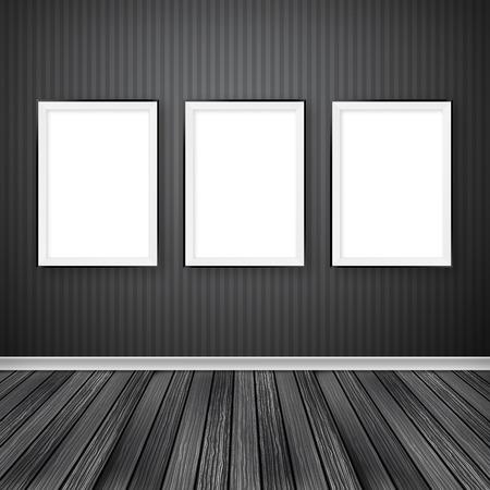 Galleria interni con tre cornici vuote sul muro. Archivio Fotografico - 36519686