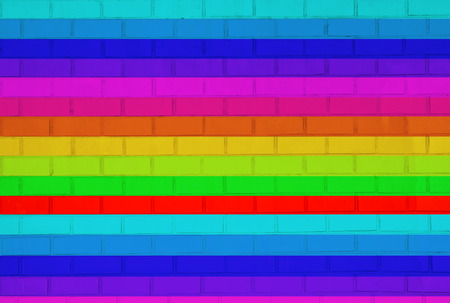 Kids interior brick wall. Pattern gallery to the exhibition as background for your concept or project. Colorful wallpaper. Background textured. photo