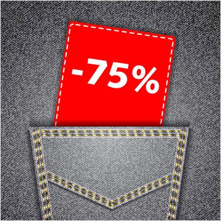 back pocket: Black back jeans pocket realistic denim texture with number percent sale tag