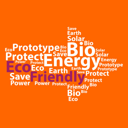 ozone friendly: Text cloud. Eco wordcloud. Typography concept. Vector illustration.
