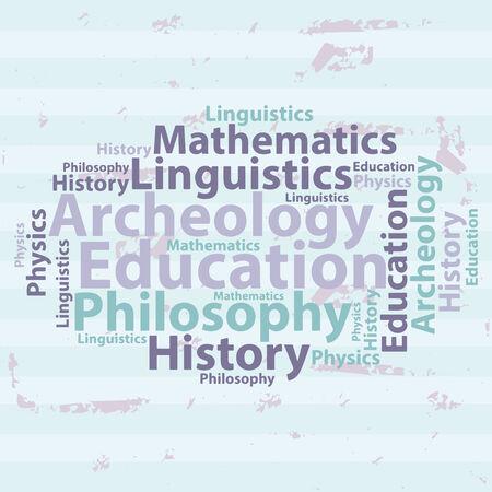 linguistics: Text cloud. Education wordcloud. Typography concept. Vector illustration.