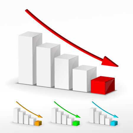 decline: 3D business decline graph. Vector business concept