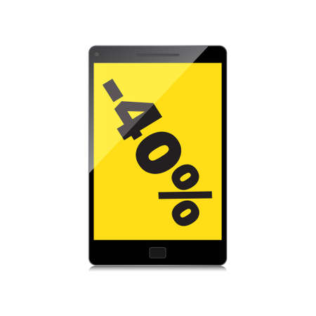markdown: Sale, markdown, discount 40 percent on High-quality smartphone screen. Reduced Prices. Special offer. Shopping badge with percentage discount.