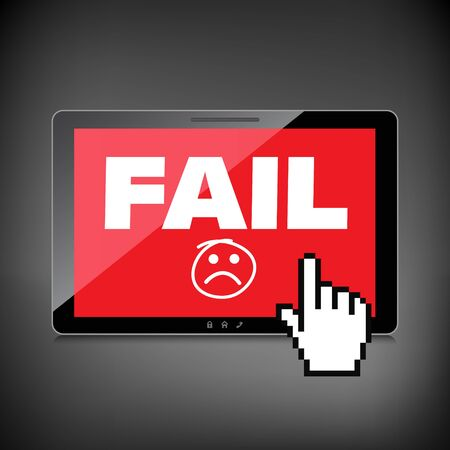 unaccepted: Fail and lost concepts display on High-quality tablet screen. Illustration