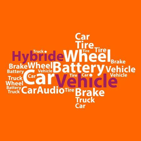 electrics: Text cloud. Car wordcloud. Typography concept. Vector illustration.
