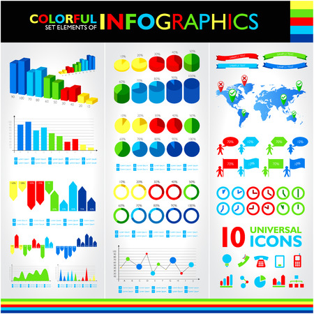Colorful infographics set and vector universal icons. Vector