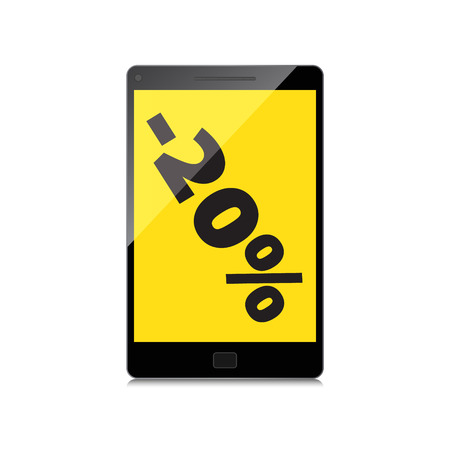 markdown: Sale, markdown, discount 20 percent on High-quality smartphone screen. Reduced Prices. Special offer. Shopping badge with percentage discount. Illustration