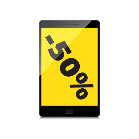 markdown: Sale, markdown, discount 50 percent on High-quality smartphone screen. Reduced Prices. Special offer. Shopping badge with percentage discount. Illustration