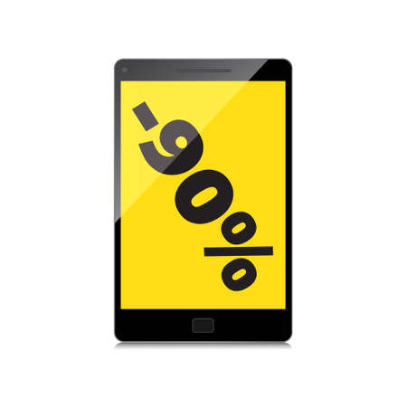 markdown: Sale, markdown, discount 90 percent on High-quality smartphone screen. Reduced Prices. Special offer. Shopping badge with percentage discount.