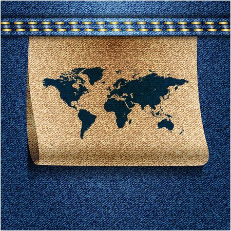 World map on jeans background texture. Vector. Vector