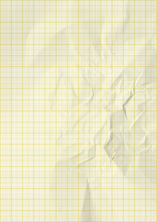plotting: yellow color lines graph millimeter paper. Stock Photo