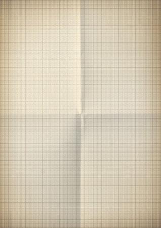plotting: Gold graph crumpled millimeter paper Stock Photo