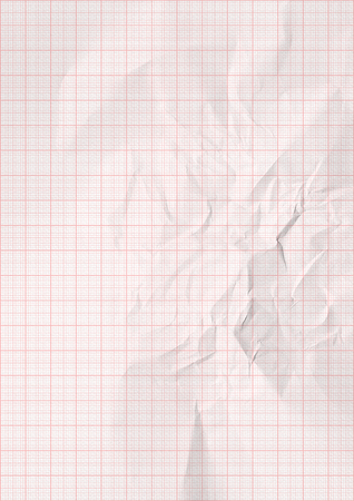 millimeter: White crumpled millimeter paper with red lines. Stock Photo