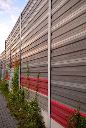 loudness: Noise barrier, acoustic screen, soundproof of the road Stock Photo