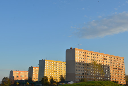 prefab: Block of flats, prefab house, city landscape
