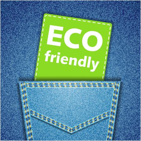 jeans pocket: Eco friendly tag. Blue back jeans pocket realistic denim texture Illustration