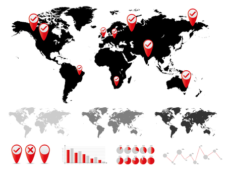 World map and graph bar infographic set