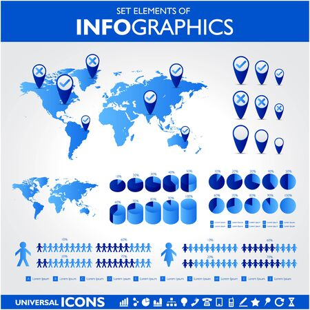 Blue infographics. Universal vector icons set. Statistic. Illustration