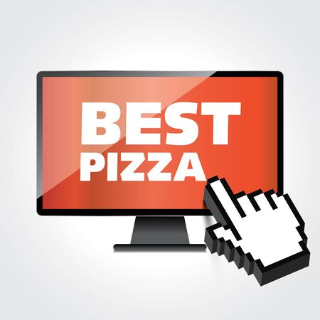 High-quality computer display, monitor screen with the label Best Pizza. Special offer. Marketing concept. Illustration