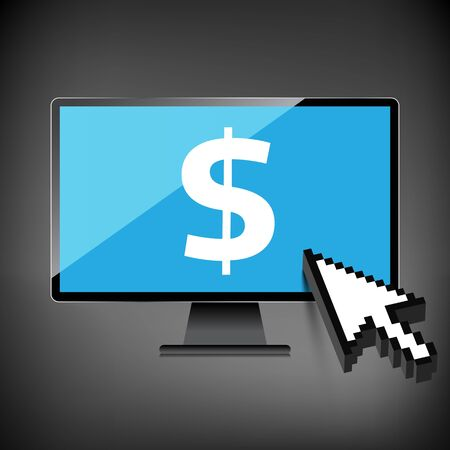 High-quality computer display, monitor screen with the Dollar sign. Economy concept.