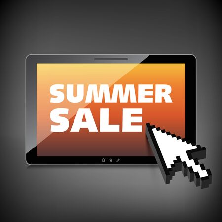 Summer sale words. Markdown, discount on High-quality tablet screen. Reduced Prices. Special offer. Shopping badge with percentage discount.