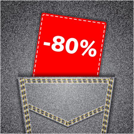 jeans pocket: Black back jeans pocket realistic denim texture with number percent sale tag