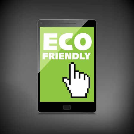 Eco friendly word on High-quality smartphone screen. Think Green. Ecology Concept. Environmentally friendly planet. Illustration