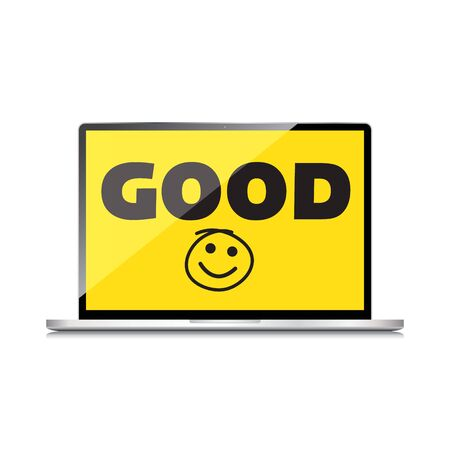 Good job, idea. display on High-quality laptop screen. Smile and positive concept.