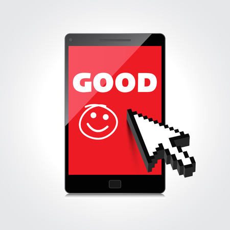 Good job, idea. display on High-quality smartphone screen. Smile and positive concept.