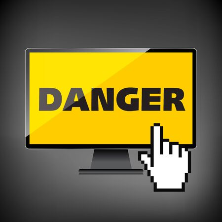 High-quality computer display, monitor screen with the text warning sign Danger Illustration