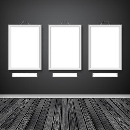 ギャラリーの壁に 3 つの空のフレームのインテリア。