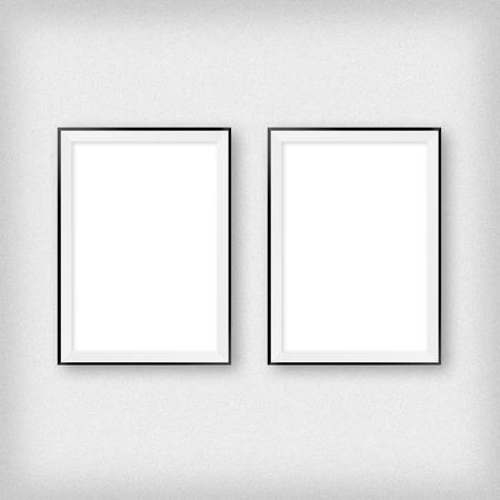 Galerijinterieur met twee lege lijsten aan de muur