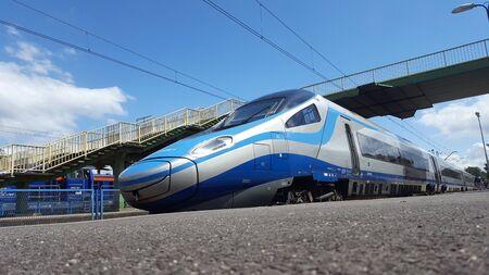 Bielsko-Biala, Poland - June 17, 2016: New high-speed intercity Pendolino train. Banco de Imagens - 128213715