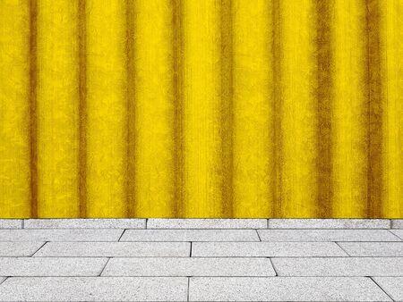 Corrugated sheet yellow wall interior Banco de Imagens - 127590965