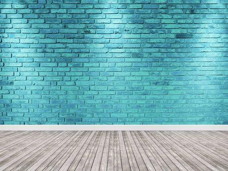 Brick wall with spotlight. Blue interior background wooden floor. Banco de Imagens - 127590974