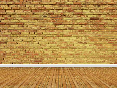 Brick wall interior background with a wooden floor. Banco de Imagens