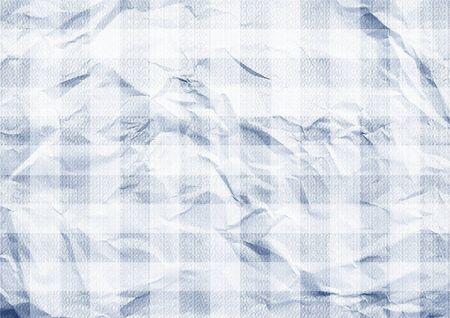 Blue paper folded. Tartan background texture.