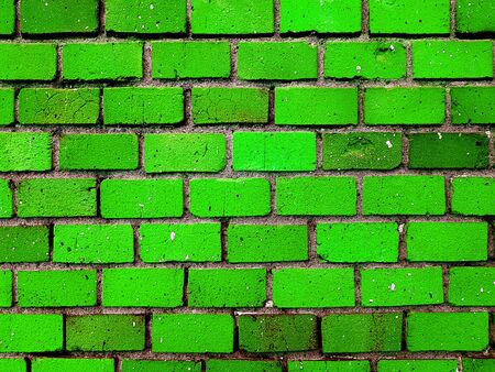 Rough brick green stone wall texture background