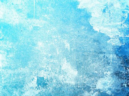 Grunge blue wall with peeling plaster vintage texture background