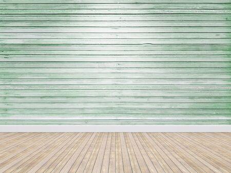 vintage empty room green wooden background.